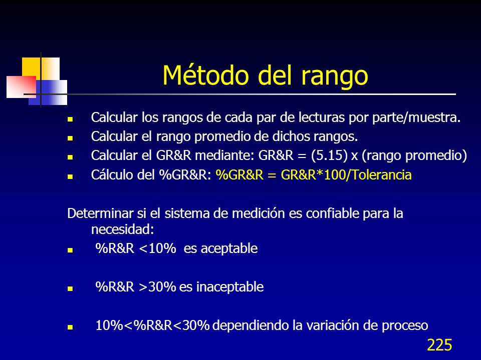 Método del rangoCalcular los rangos de cada par de lecturas por parte/muestra. Calcular el rango promedio de dichos rangos.