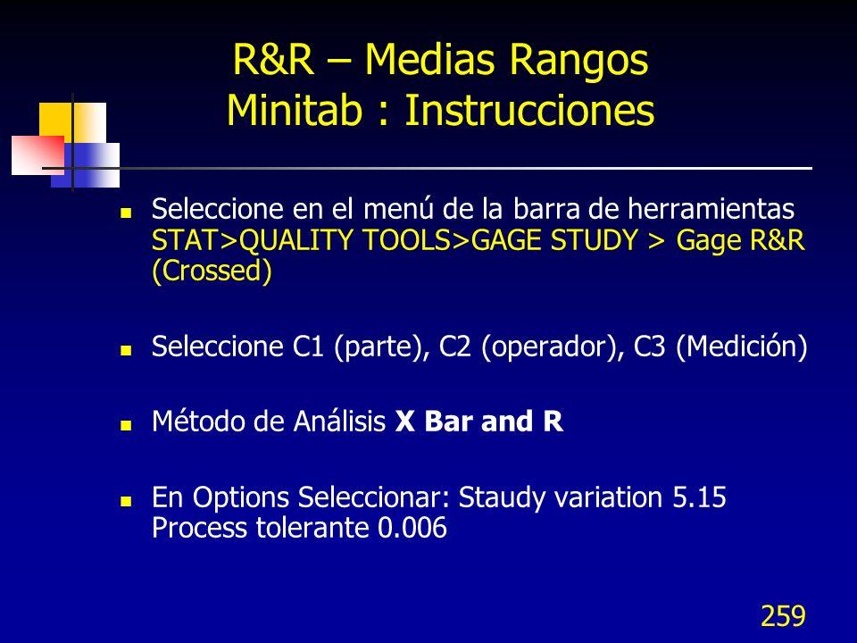 R&R – Medias Rangos Minitab : Instrucciones