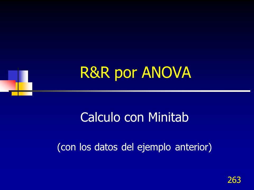 Calculo con Minitab (con los datos del ejemplo anterior)
