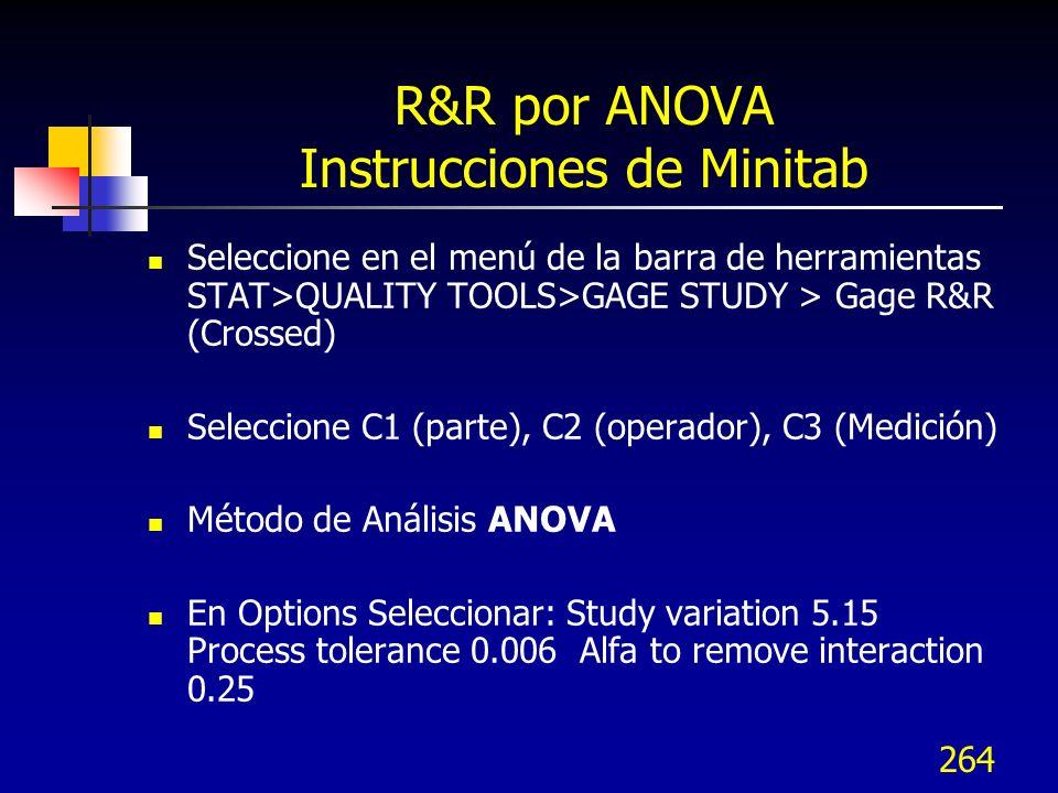 R&R por ANOVA Instrucciones de Minitab