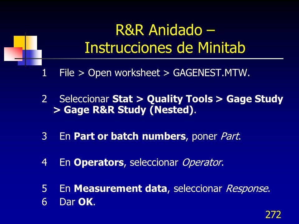 R&R Anidado – Instrucciones de Minitab