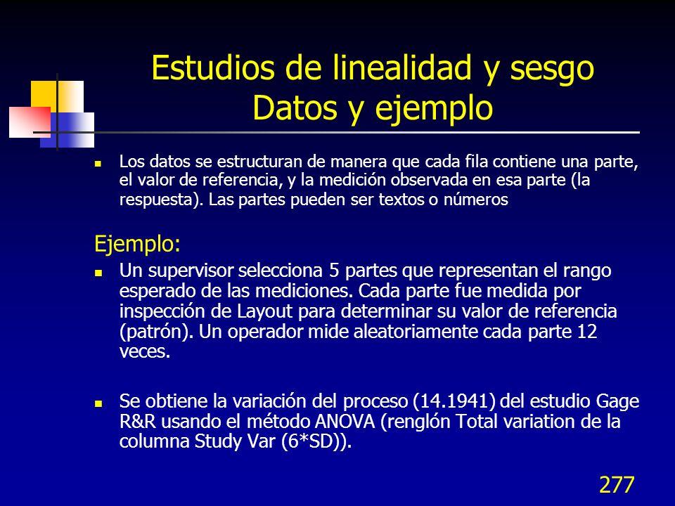 Estudios de linealidad y sesgo Datos y ejemplo