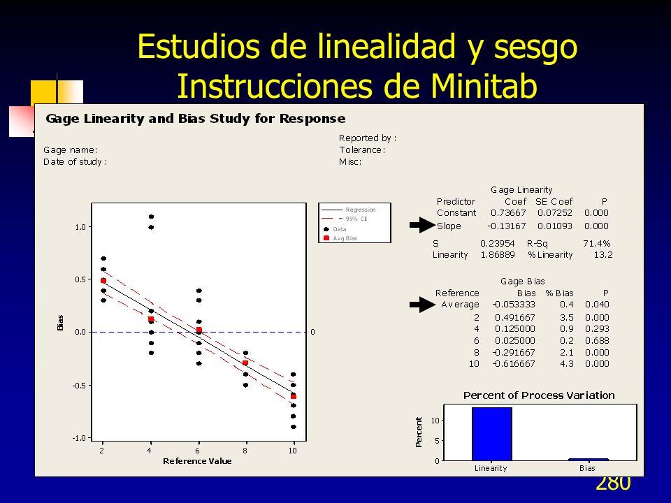 Estudios de linealidad y sesgo Instrucciones de Minitab