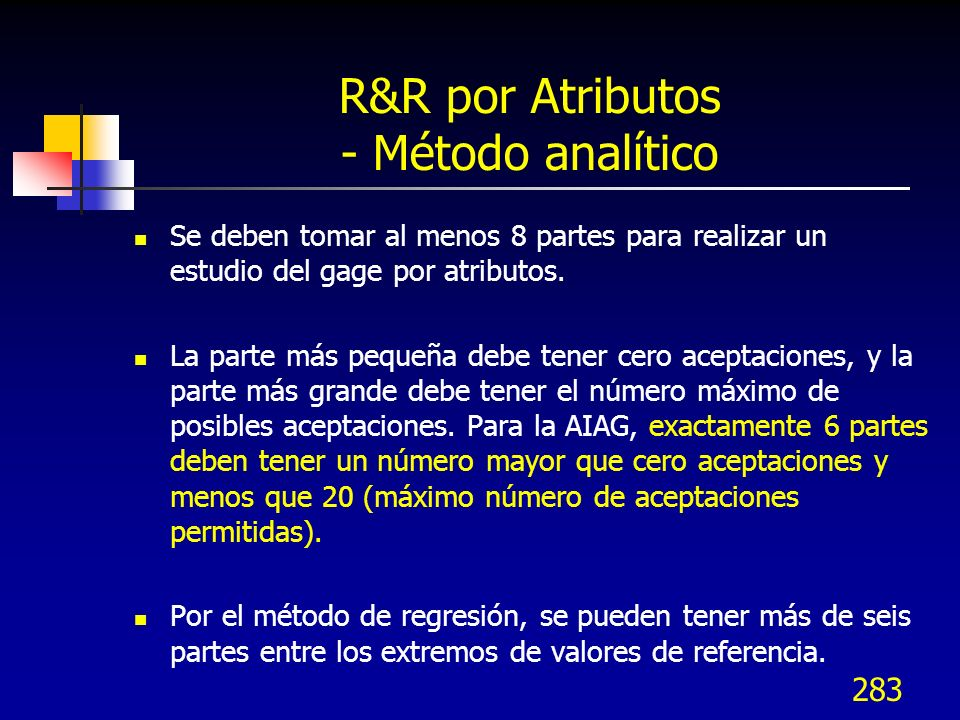 R&R por Atributos - Método analítico
