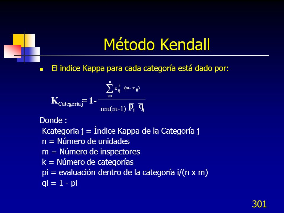 Método KendallEl indice Kappa para cada categoría está dado por: Donde : Kcategoria j = Índice Kappa de la Categoría j.