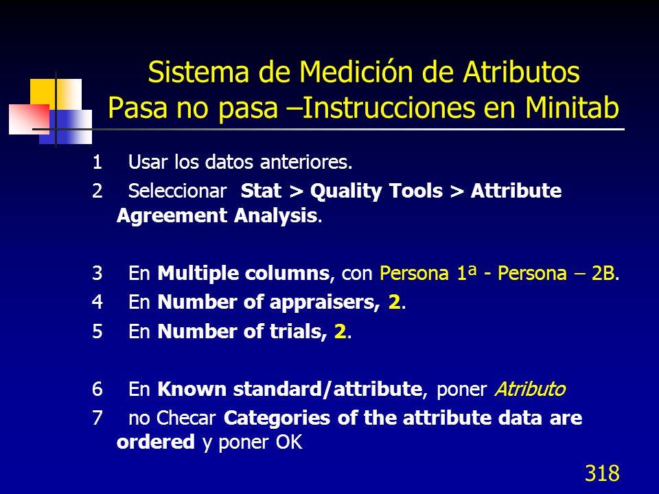 Sistema de Medición de Atributos Pasa no pasa –Instrucciones en Minitab