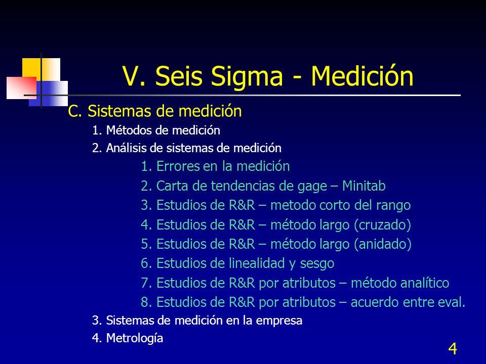 V. Seis Sigma - Medición C. Sistemas de medición