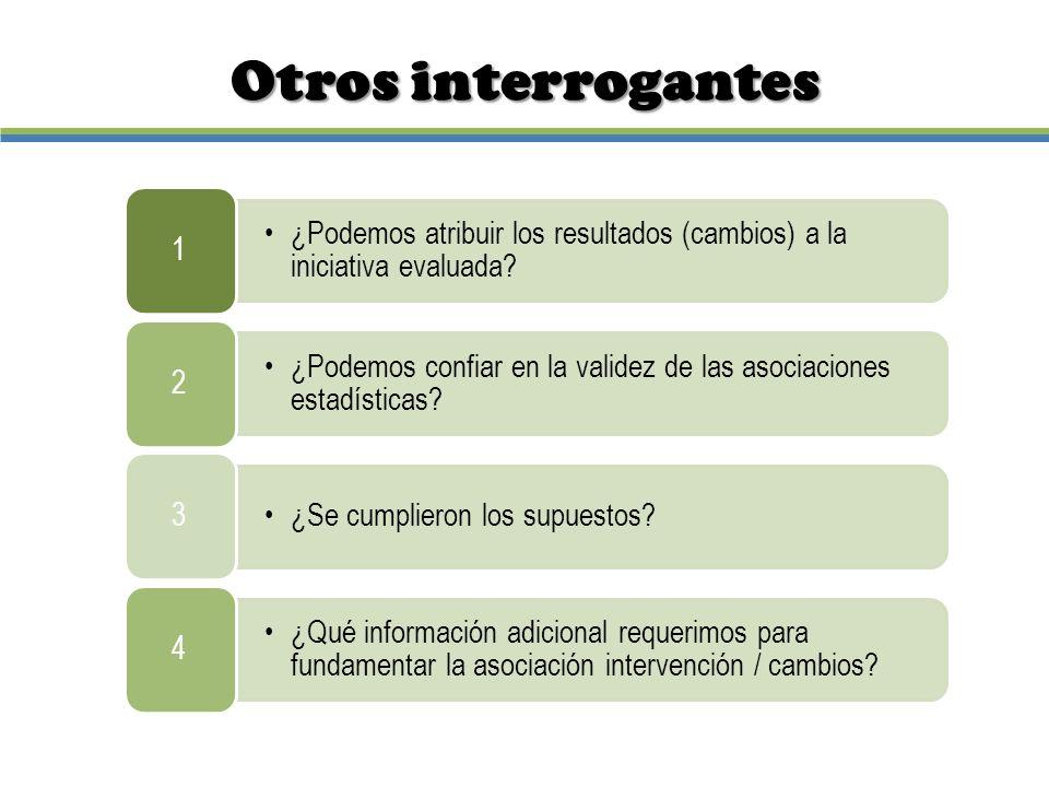 Otros interrogantes 1. ¿Podemos atribuir los resultados (cambios) a la iniciativa evaluada 2.