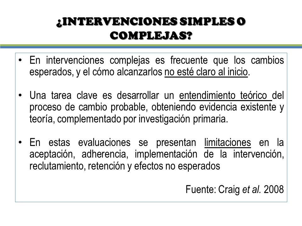 ¿INTERVENCIONES SIMPLES O COMPLEJAS
