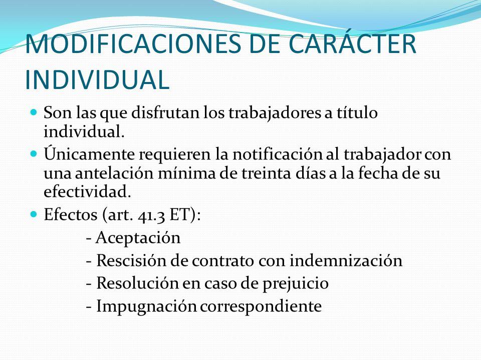 MODIFICACIONES DE CARÁCTER INDIVIDUAL