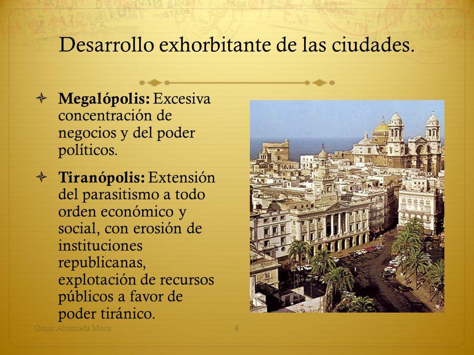 Desarrollo exhorbitante de las ciudades.