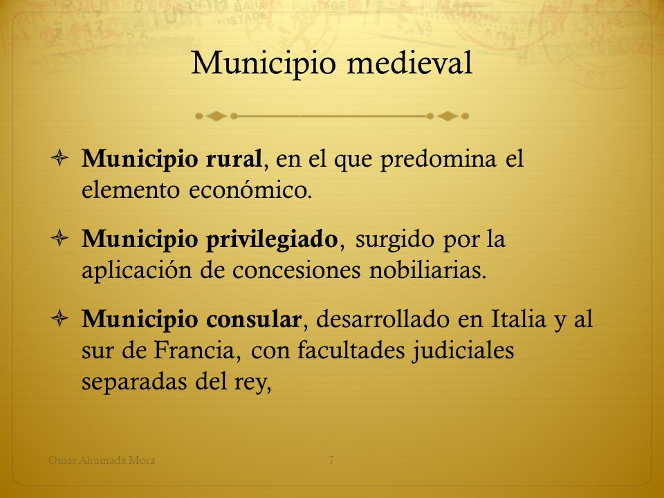Municipio medieval Municipio rural, en el que predomina el elemento económico.