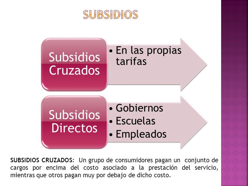 Subsidios Cruzados Subsidios Directos Subsidios En las propias tarifas