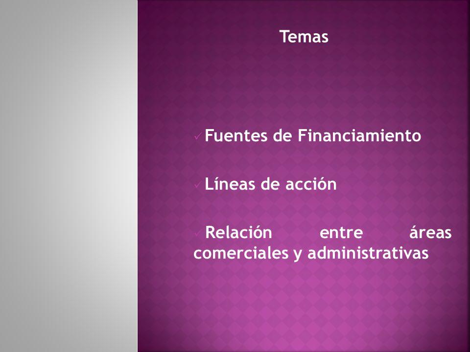 Temas Fuentes de Financiamiento. Líneas de acción.