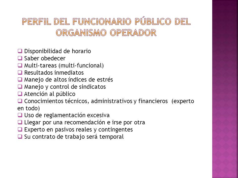 Perfil del funcionario público del organismo operador