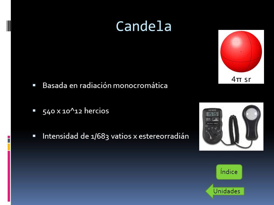 Candela Basada en radiación monocromática 540 x 10^12 hercios