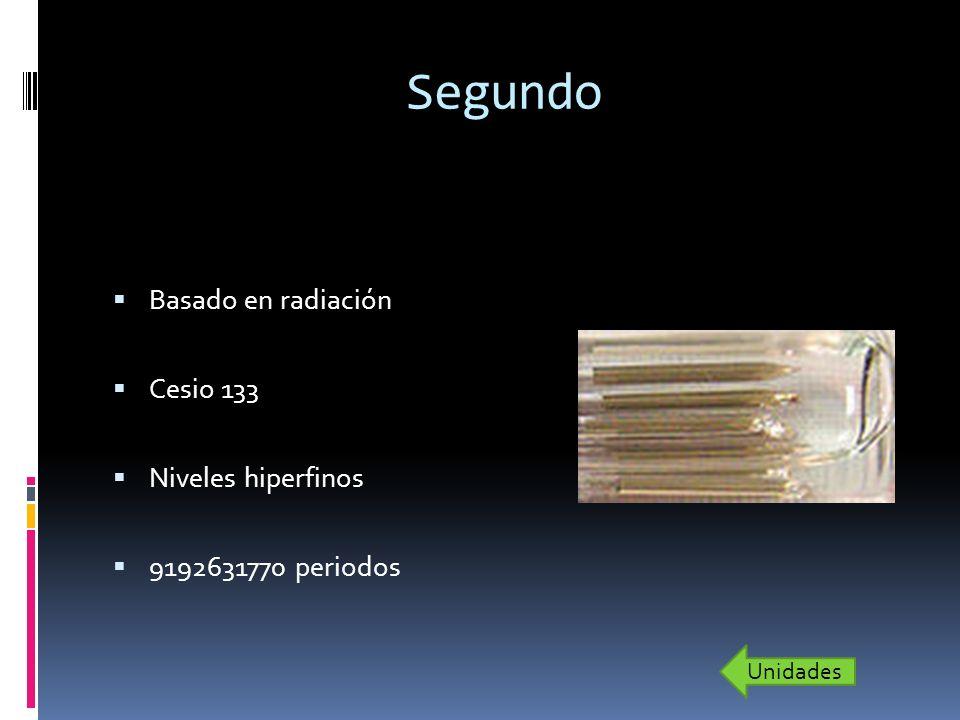 Segundo Basado en radiación Cesio 133 Niveles hiperfinos