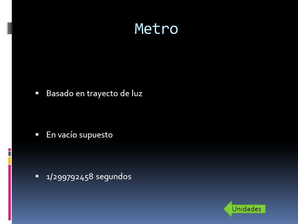 Metro Basado en trayecto de luz En vacío supuesto 1/299792458 segundos