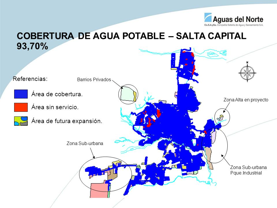 COBERTURA DE AGUA POTABLE – SALTA CAPITAL 93,70%