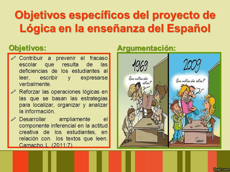 Objetivos específicos del proyecto de Lógica en la enseñanza del Español