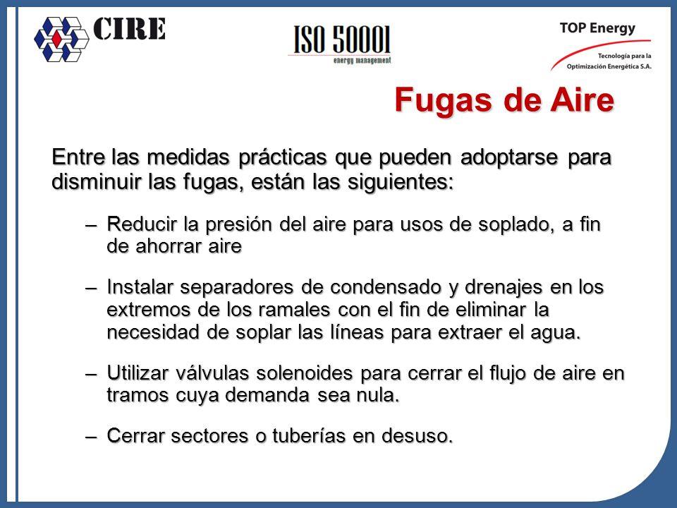 Fugas de Aire Entre las medidas prácticas que pueden adoptarse para disminuir las fugas, están las siguientes: