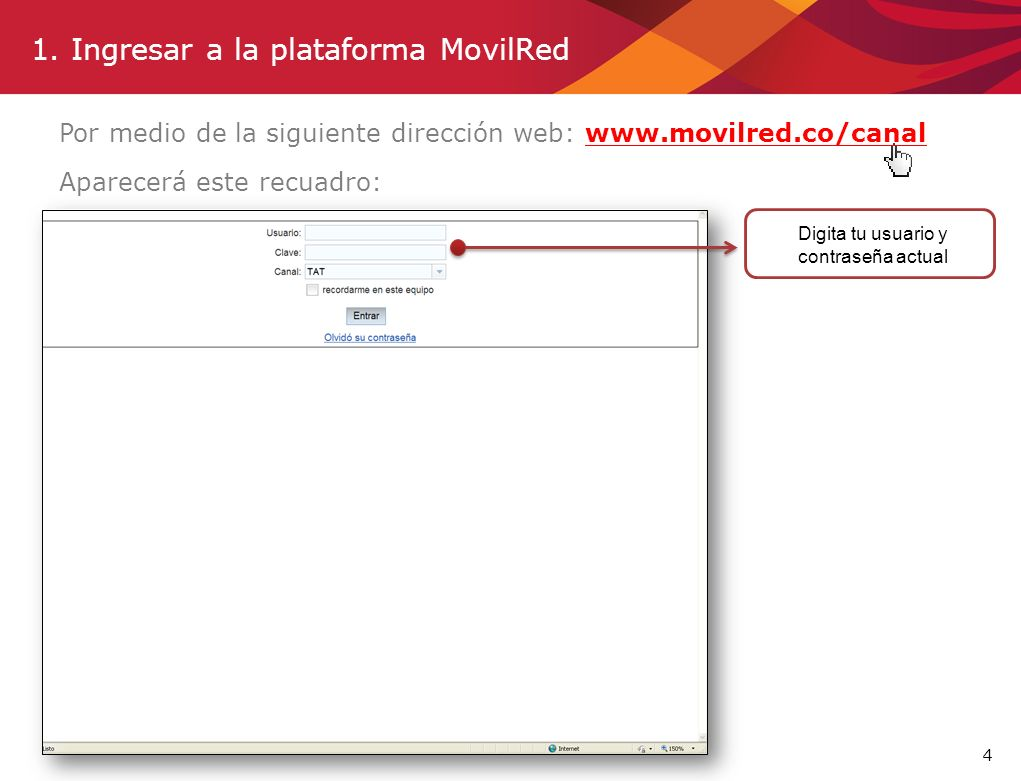 1. Ingresar a la plataforma MovilRed