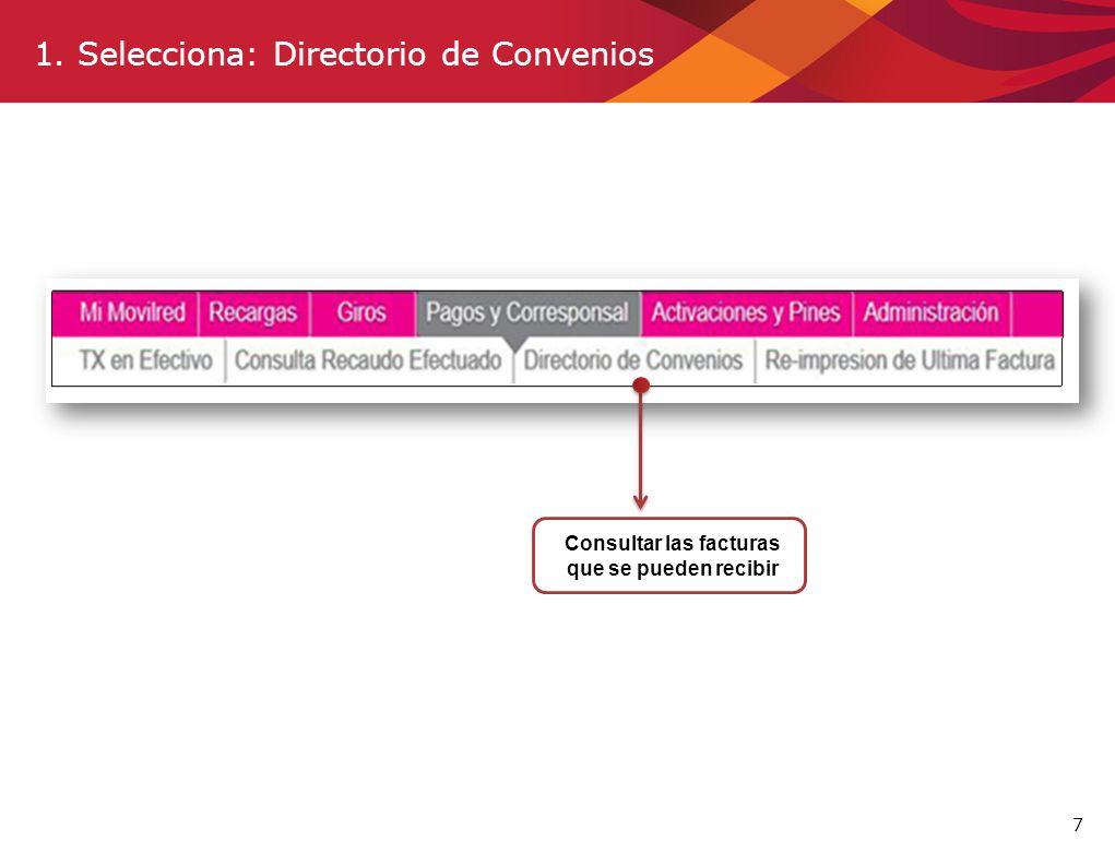 1. Selecciona: Directorio de Convenios