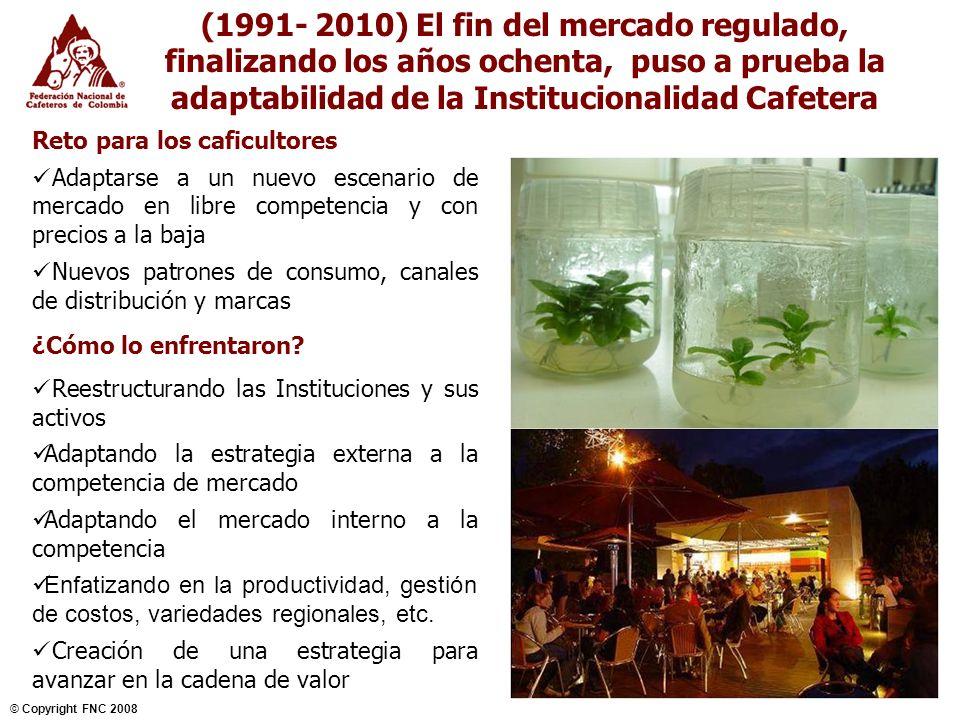 (1991- 2010) El fin del mercado regulado, finalizando los años ochenta, puso a prueba la adaptabilidad de la Institucionalidad Cafetera