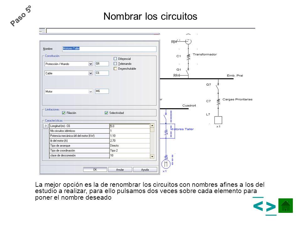 > > Nombrar los circuitos Paso 5º