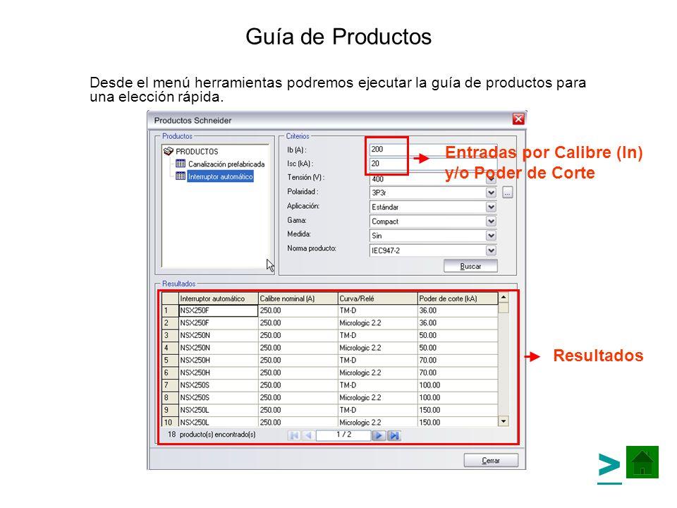 > Guía de Productos Entradas por Calibre (In) y/o Poder de Corte