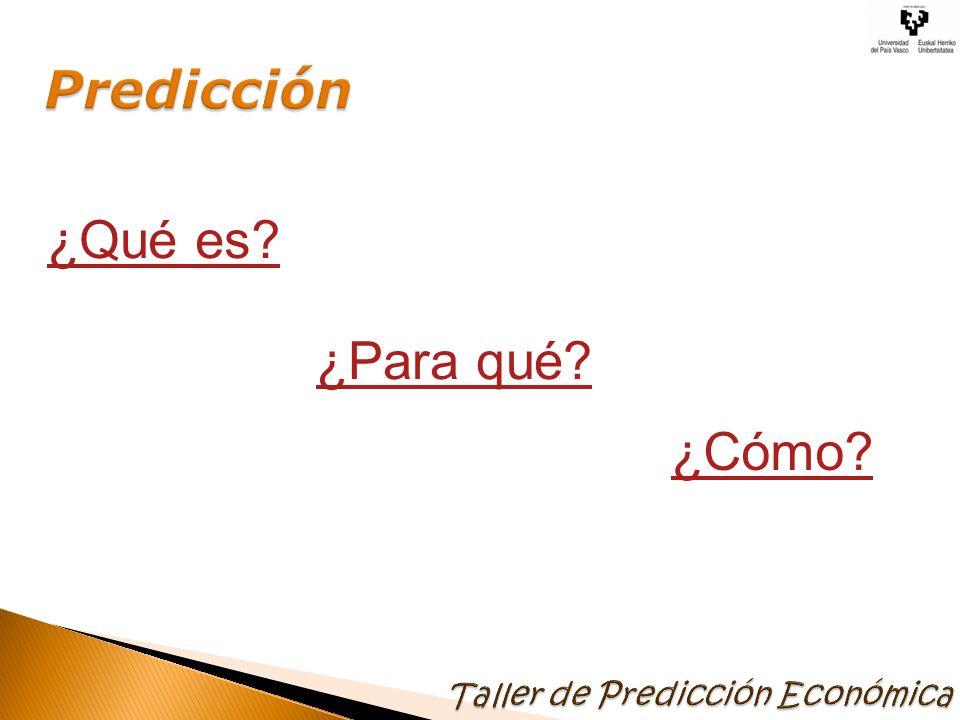 Predicción ¿Qué es ¿Para qué ¿Cómo Taller de Predicción Económica