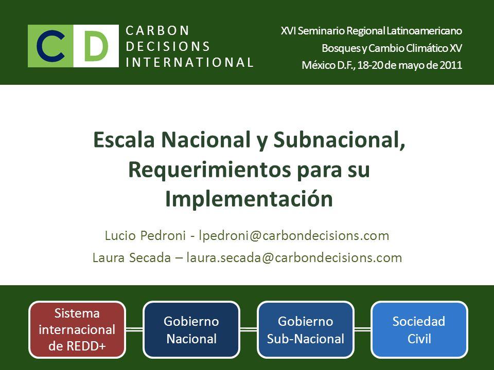 Escala Nacional y Subnacional, Requerimientos para su Implementación