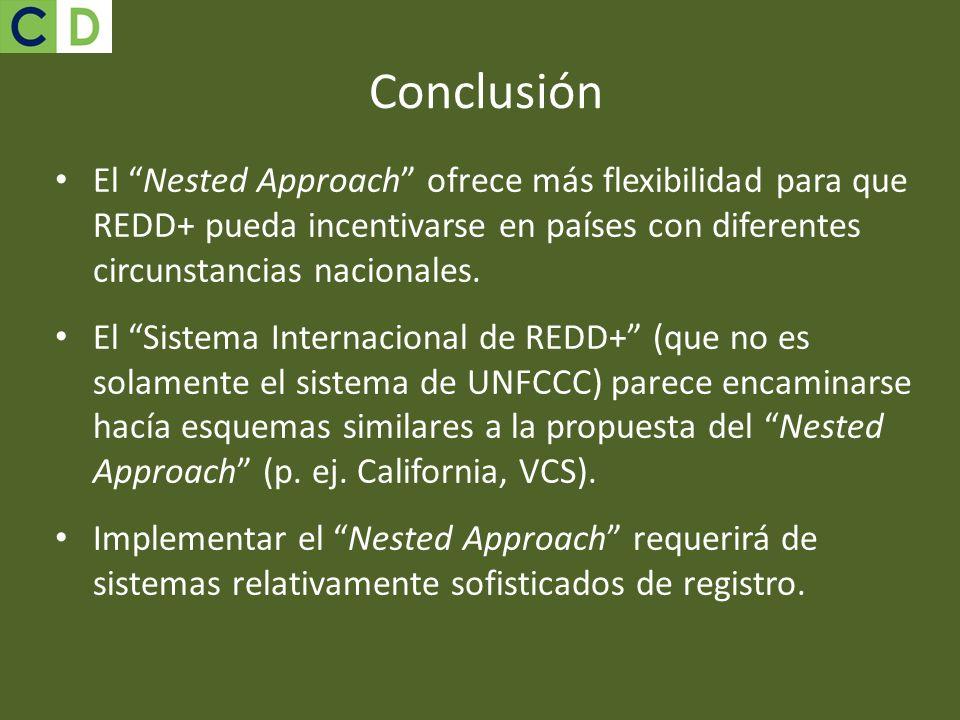 Conclusión El Nested Approach ofrece más flexibilidad para que REDD+ pueda incentivarse en países con diferentes circunstancias nacionales.