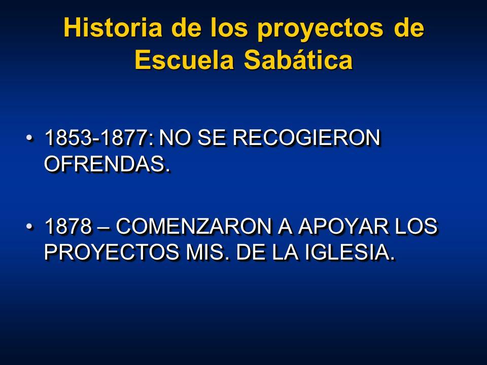 Historia de los proyectos de Escuela Sabática