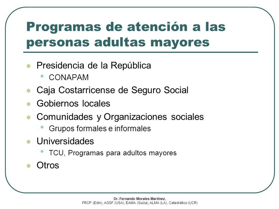Programas de atención a las personas adultas mayores