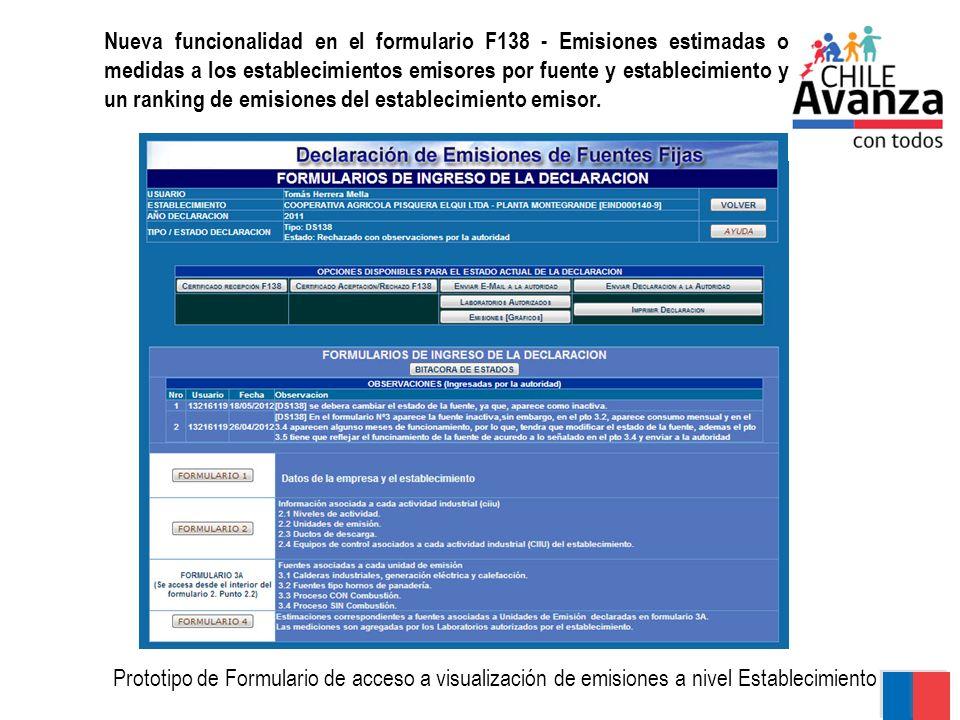 Nueva funcionalidad en el formulario F138 - Emisiones estimadas o medidas a los establecimientos emisores por fuente y establecimiento y un ranking de emisiones del establecimiento emisor.