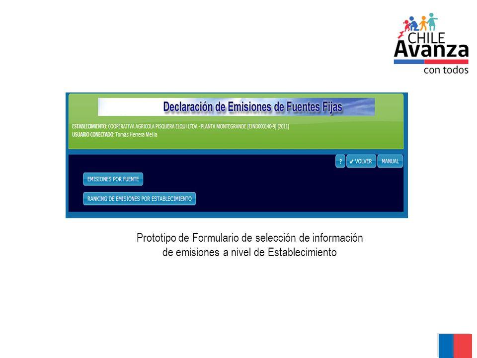 Prototipo de Formulario de selección de información