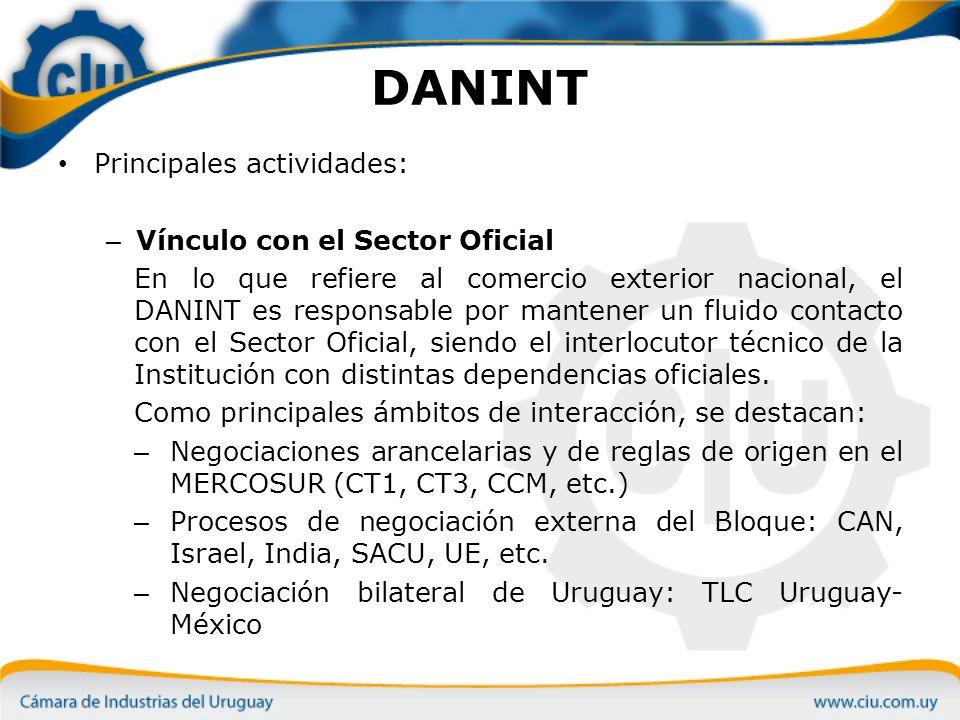 DANINT Principales actividades: Vínculo con el Sector Oficial