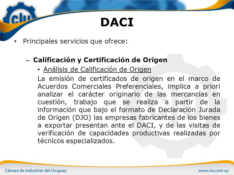 DACI Principales servicios que ofrece: