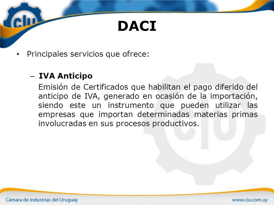 DACI Principales servicios que ofrece: IVA Anticipo