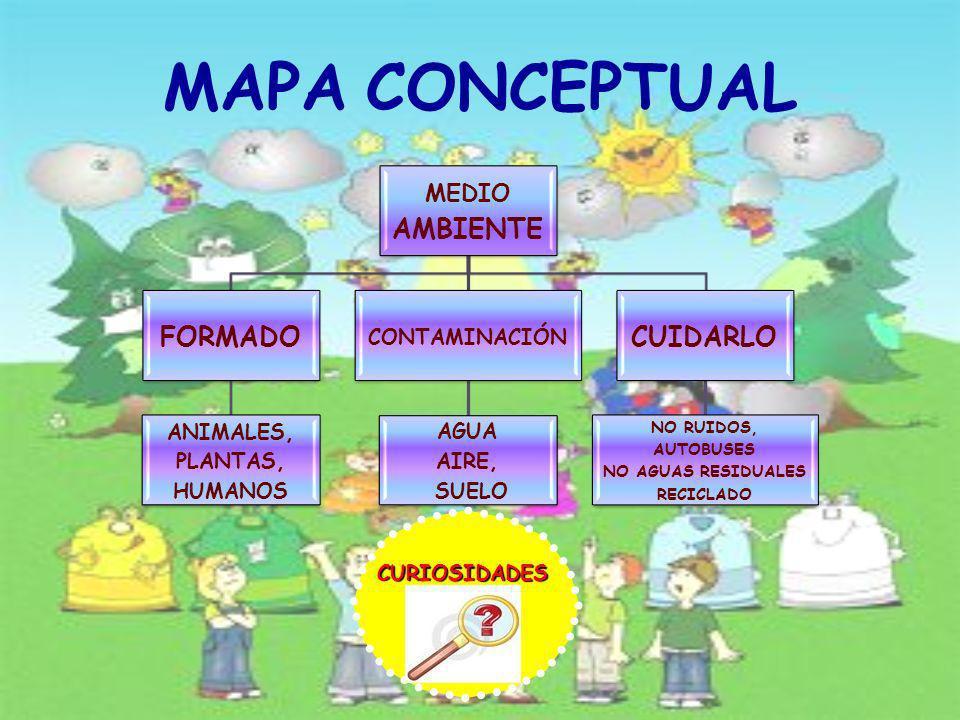 MAPA CONCEPTUAL FORMADO CUIDARLO MEDIO AMBIENTE ANIMALES, PLANTAS,