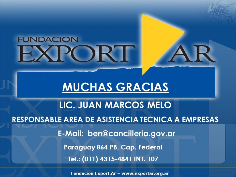 MUCHAS GRACIAS LIC. JUAN MARCOS MELO E-Mail: ben@cancilleria.gov.ar