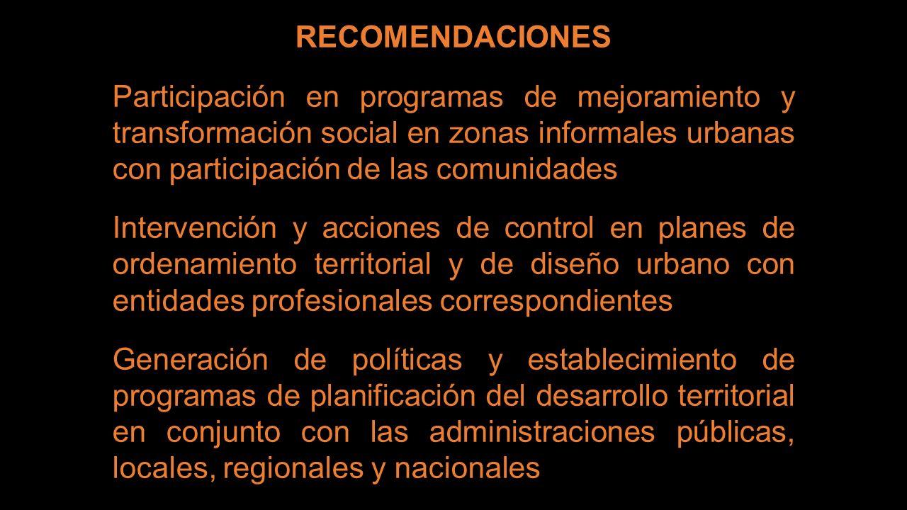 RECOMENDACIONES Participación en programas de mejoramiento y transformación social en zonas informales urbanas con participación de las comunidades.