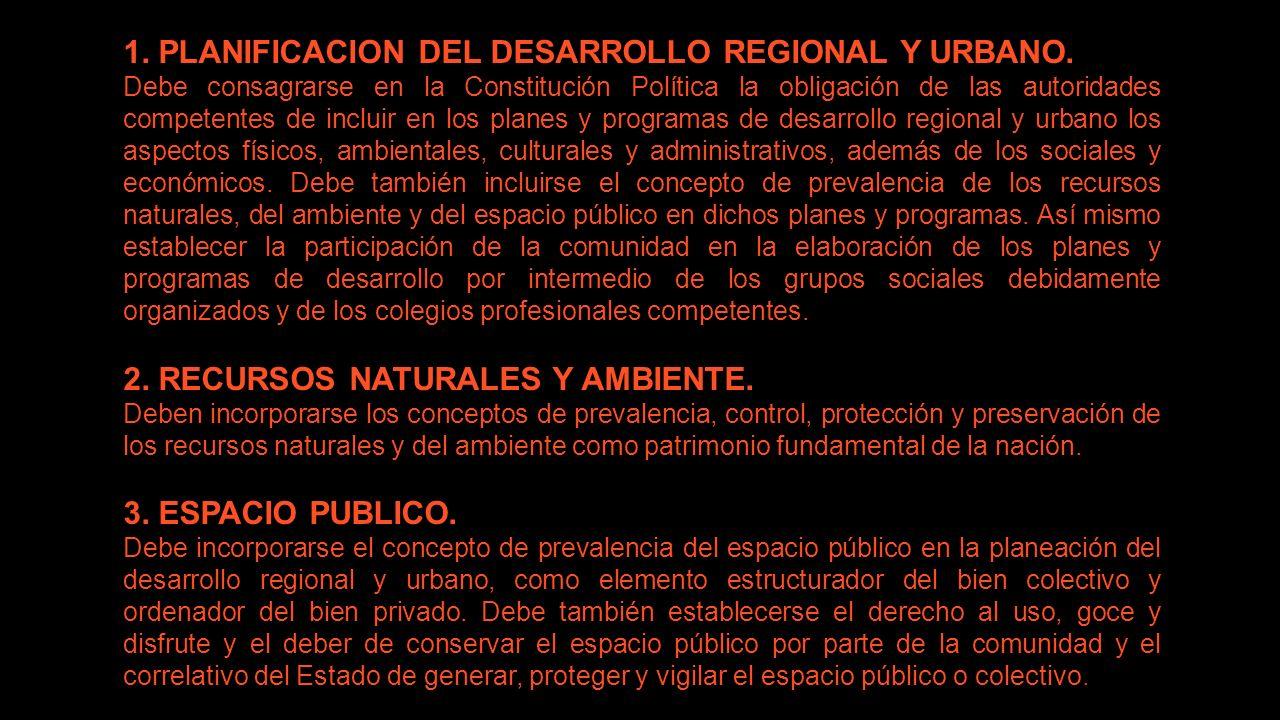 1. PLANIFICACION DEL DESARROLLO REGIONAL Y URBANO.