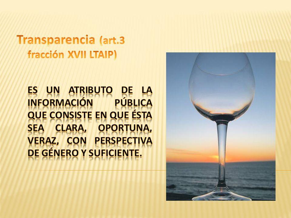 Transparencia (art.3 fracción XVII LTAIP)