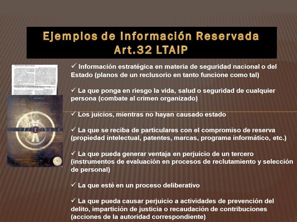 Ejemplos de Información Reservada