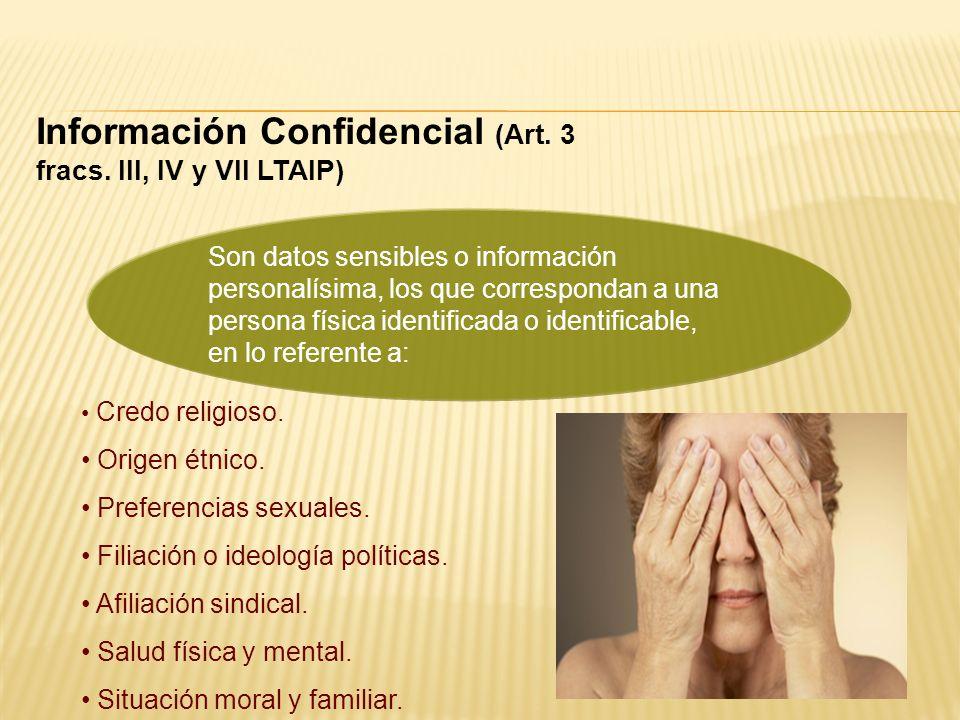 Información Confidencial (Art. 3 fracs. III, IV y VII LTAIP)