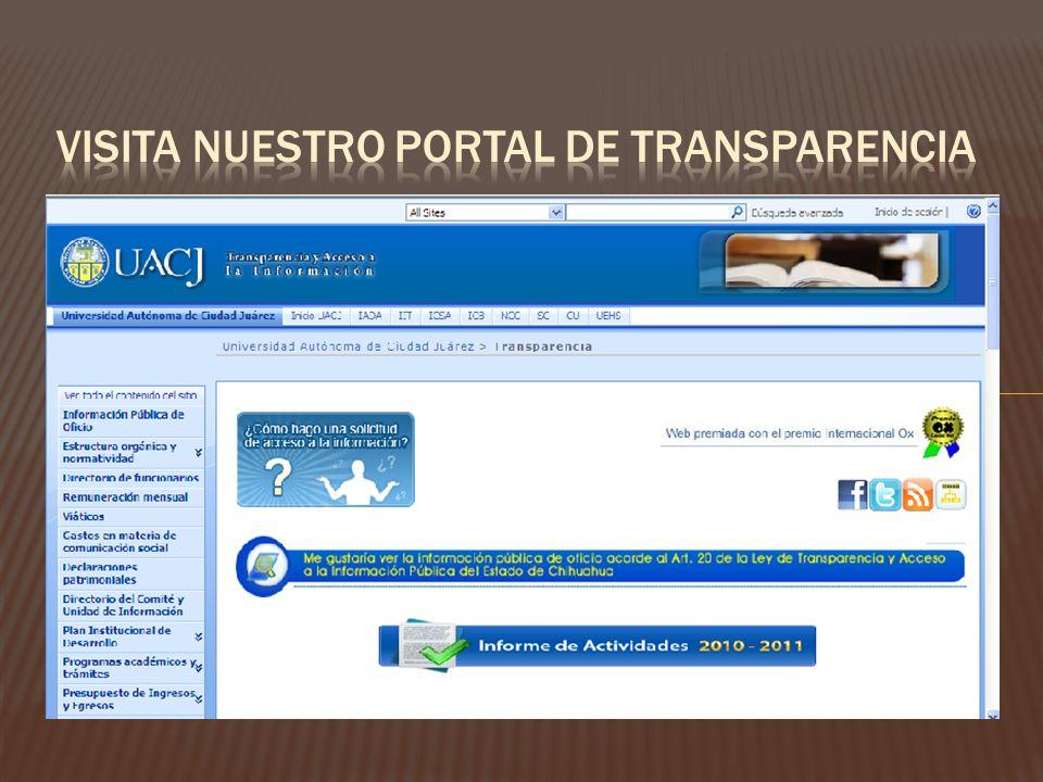 VISITA NUESTRO PORTAL DE TRANSPARENCIA