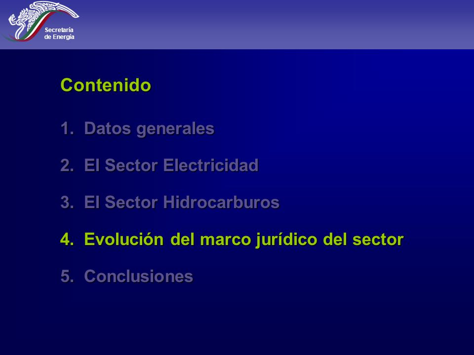 Contenido Datos generales El Sector Electricidad