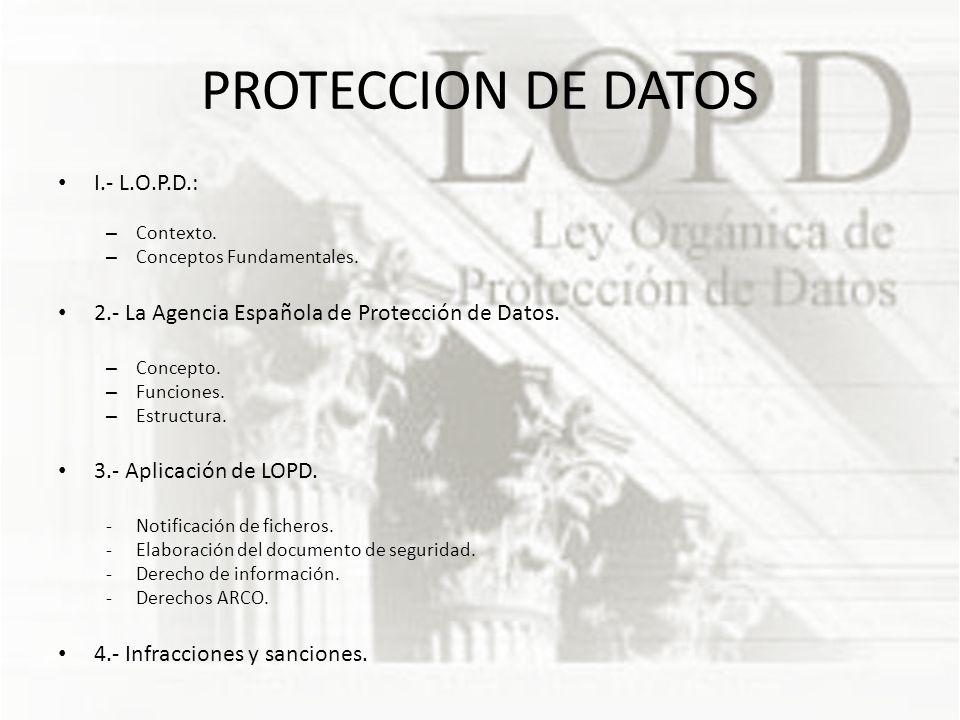 PROTECCION DE DATOS I.- L.O.P.D.: